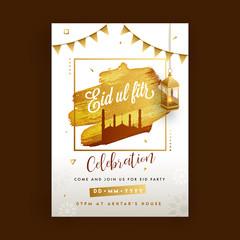 Text Eid-Al-Fitr with mosque on golden glitter texture, hanging illuminated lantern.