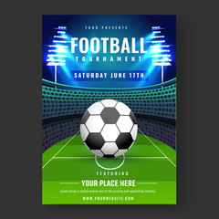 Football Tournament banner or flyer design with football on stadium  background.