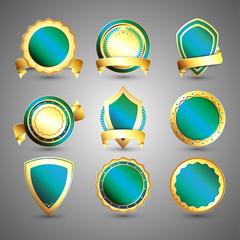 Set of glossy golden labels or badges.