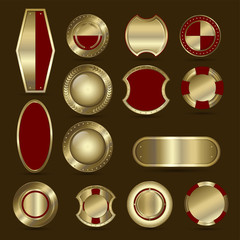 Collection of red and golden shield, badge, label, award or ribbons.