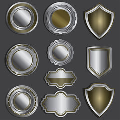 Set of glossy silver labels or badges.