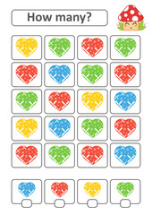 Counting game for preschool children for the development of mathematical abilities. How many hearts of different colors. With a place for answers. Simple flat isolated vector illustration.