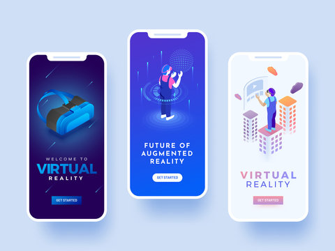 Splash screen for andriod mobile or website for virtual reality concept.