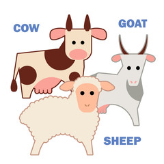 Farm animals cow, sheep and goat isolated