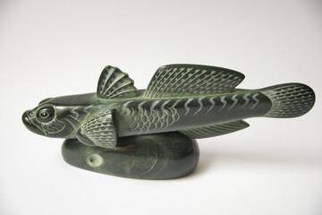"Russia, Perm Krai, village Red Yasyl: ""Fish"" - sculptures of the artist Nechayev Sergey:  animal Stone"