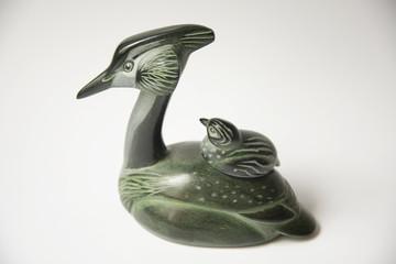 Russia, Perm Krai, village Red Yasyl: sculptures of the artist Nechayev Sergey:  animal stone sculpture
