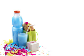 Festive composition drinks snacks holiday hamburger cookie tinsel confetti gift box cocktail saturated colors.