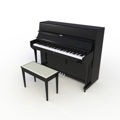 Side view of classic musical instrument black piano isolated on white background, Keyboard instrument, 3d rendering