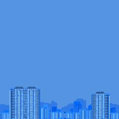 buildings. vector seamless pattern. blue illustration