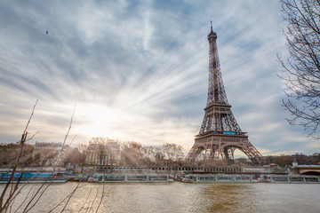The Eiffel Tower in Paris, France in a beautiful summer day