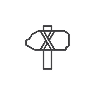 Ancient stone axe outline icon. linear style sign for mobile concept and web design. Stone hammer Fossil simple line vector icon. Symbol, logo illustration. Pixel perfect vector graphics