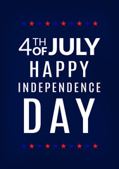 4th of July. Happy independence day greeting card