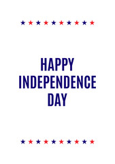 American national holiday greeting card. Happy independence day leaflet