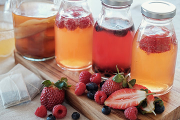 Kombucha second Fermented fruit tea, Probiotic food for gut health, leaky gut, keto diet drink