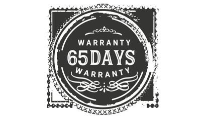 65 days warranty icon stamp
