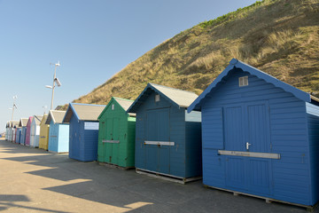 Beach huts on seafront at Sheringham, Norfolk