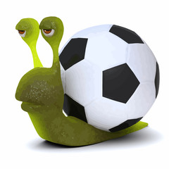 Vector 3d Snail always carries a soccer ball