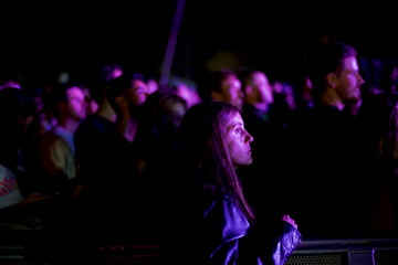 Revellers watch as Chromeo perform during the Firefly Music Festival in Dover