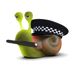 Vector 3d Snail is a police officer