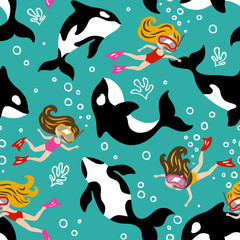Hand drawn seamless vector pattern with cute dolphins and diving girls. Repetitive wallpaper on turquoise background. Perfect for fabric, wallpaper, wrapping paper or nursery decor.