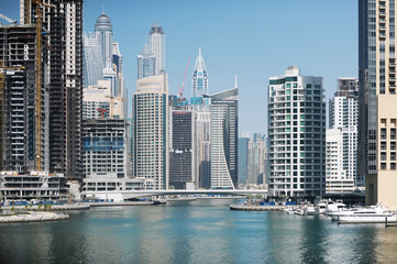 United Arab Emirates. Dubai Marina Canal. Skyscrapers in Dubai.