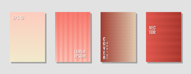 Elegant zig zag banner templates, wavy lines gradient stripes backgrounds for music party cover. Curve shapes stripes, zig zag edge lines halftone texture gradient poster backgrounds pink cherry set.