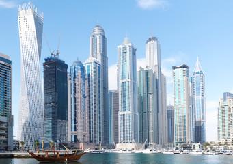 Scenery view of Dubai Marina Residential and Business Skyscrapers, Dubai