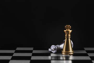 Chess game on the board for competition , success and leadership business concept