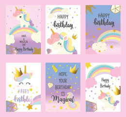 Set of Happy birthday card with cute unicorn. Greeting.