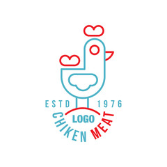 Chicken meat logo estd 1976, retro badge for farm natural organic products food, packaging, shop, restaurant, grill, BBQ vector Illustration