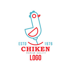 Chicken premium quality estd 1976 logo, retro badge for farm products food, packaging, shop, restaurant, grill vector Illustration