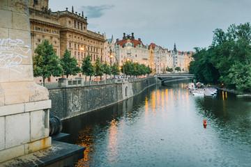 Prague, Czech Republic - Prague palaces along the Vltava river at the evening