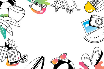 Summer doodles symbol and objects icon elements with space for text. Hand drawn style. Use for labels, stickers, badges, poster, flyer, banner, illustration design.