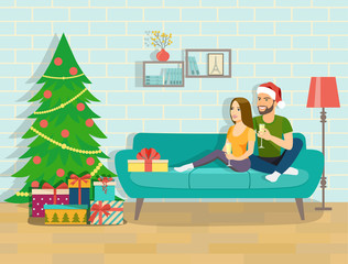Happy young couple is holding glasses of champagne. Couple at home sitting on sofa. Christmas room interior. Vector flat style illustration