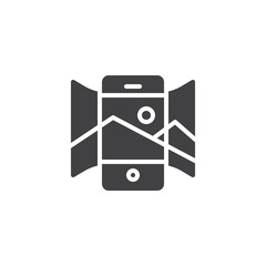 Panorama view smartphone vector icon. filled flat sign for mobile concept and web design. Mobile phone with panoramic picture simple solid icon. Symbol, logo illustration. Pixel perfect vector
