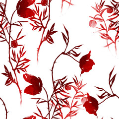 flowers and leaves of wild poppies mix repeat seamless pattern. watercolour and digital hand drawn picture. mixed media