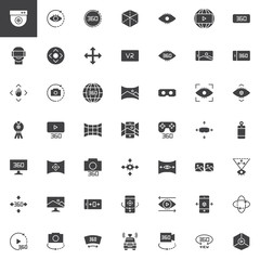 360 degrees view vector icons set, modern solid symbol collection, filled style pictogram pack. Signs, logo illustration. Set includes icons as Cctv camera, axis, vr glasses, virtual reality, Panorama