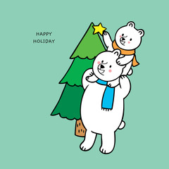 Cartoon cute family polar bears and Christmas tree vector.