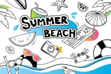 Summer doodle symbol and objects icon design for beach party background. Invitation hand drawn style. Use for labels, stickers, badges, poster, flyer, banner, illustration design.