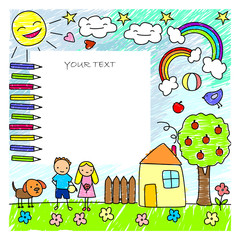 Colored Doodle Children Drawings Template