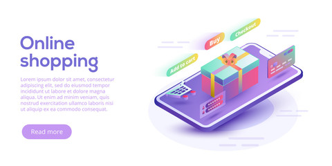 Online shopping or e-commerce isometric vector illustration. Internet store payment procedure  concept with smartphone and gift box. Secure bank transaction with password verification.
