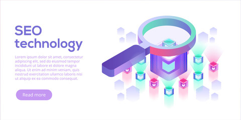 Data analytics platform isometric vector illustration. Abstract 3d hosting server or data center room background. Network or mainframe infrastructure website layout. Computer storage or workstation.