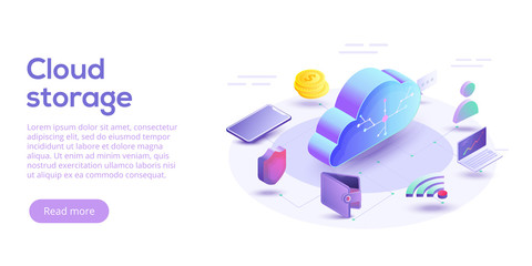 Cloud computing or storage isometric vector illustration. 3d concept with smartphone and laptop gadgets. Online data transfer website header layout. Digital network connection and interaction.