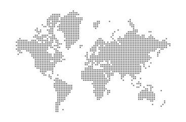 Pixel map of World. Vector dotted map of World isolated on white background. Abstract computer graphic of World map. vector illustration.