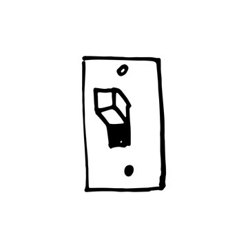 Handdrawn switch doodle icon. Hand drawn black sketch. Sign cartoon symbol. Decoration element. White background. Isolated. Flat design. Vector illustration