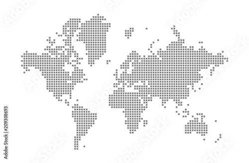 Pixel map of World. Vector dotted map of World isolated on white ...