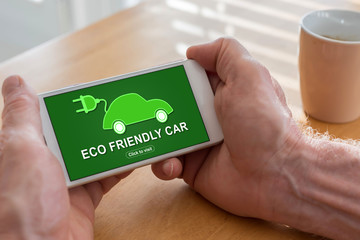 Eco friendly car concept on a smartphone