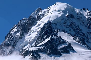 Alps jagged mountain peaks Aiguilles d'argentière, above Chamonix Valley, Mont Blanc Massif, France.