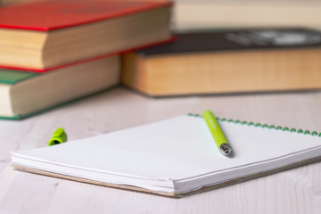 notebook with a green fountain pen on the background of books and a table