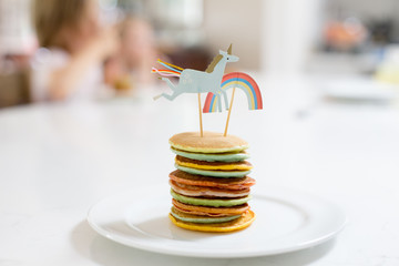 Rainbow Unicorn Pancakes